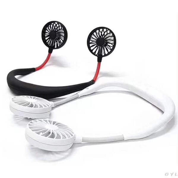 Hands free Neck Band Hands Free Hanging USB Rechargeable Dual Fan Mini Air Cooler Summer Portable 4