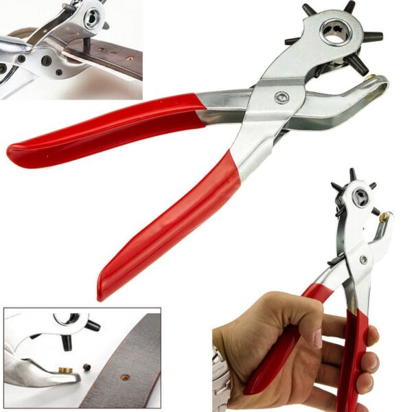 Leather Belt Hole Punch Plier Eyelet Puncher Revolve Sewing Machine Bag Setter Tool Watchband Strap Household