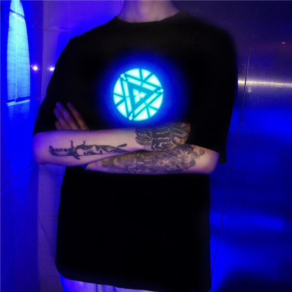 Men Women Iron Man LED Light Acoustic Control O neck Short sleeved T Shirt 3
