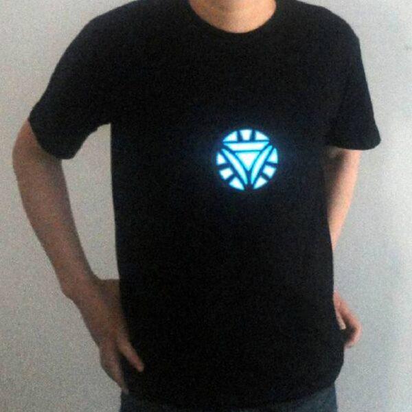 Men Women Iron Man LED Light Acoustic Control O neck Short sleeved T Shirt 4