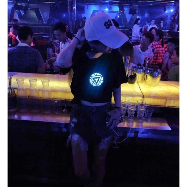 Men Women Iron Man LED Light Acoustic Control O neck Short sleeved T Shirt 5