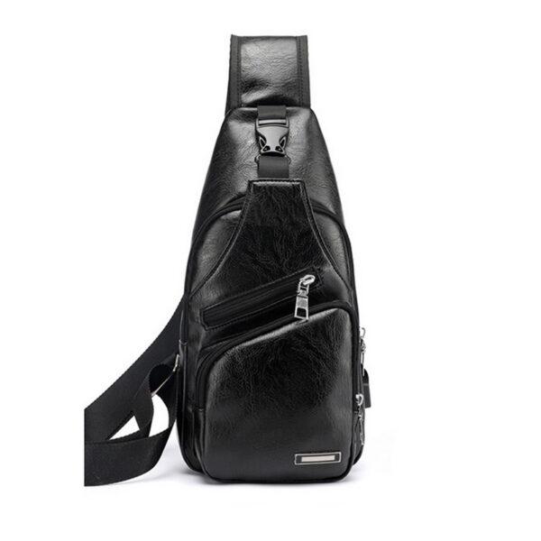 MoneRffi Men s Chest Bag Men Leather Chest Pack USB Backbag With Headphone Hole Functional Travel 1