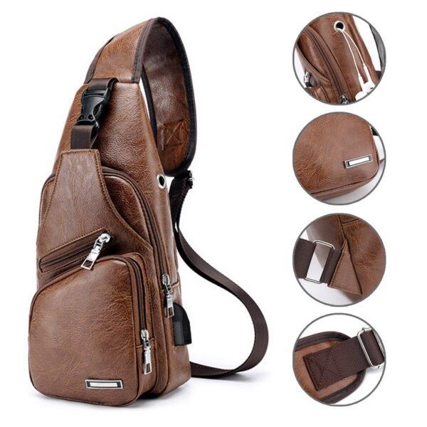 MoneRffi Men s Chest Bag Men Leather Chest Pack USB Backbag With Headphone Hole Functional Travel 2