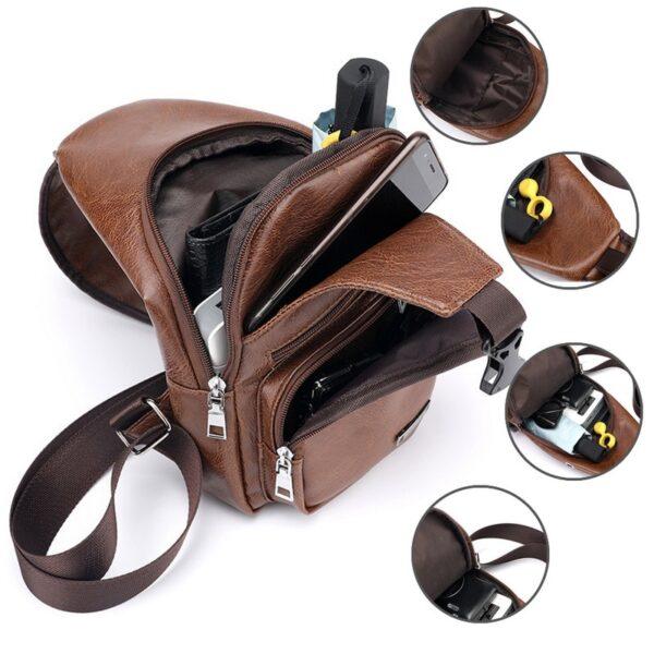 MoneRffi Men s Chest Bag Men Leather Chest Pack USB Backbag With Headphone Hole Functional Travel 3