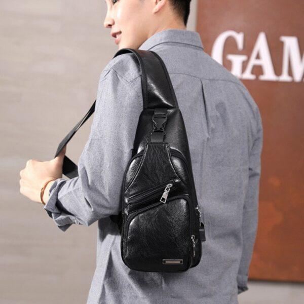 MoneRffi Men s Chest Bag Men Leather Chest Pack USB Backbag With Headphone Hole Functional Travel 4