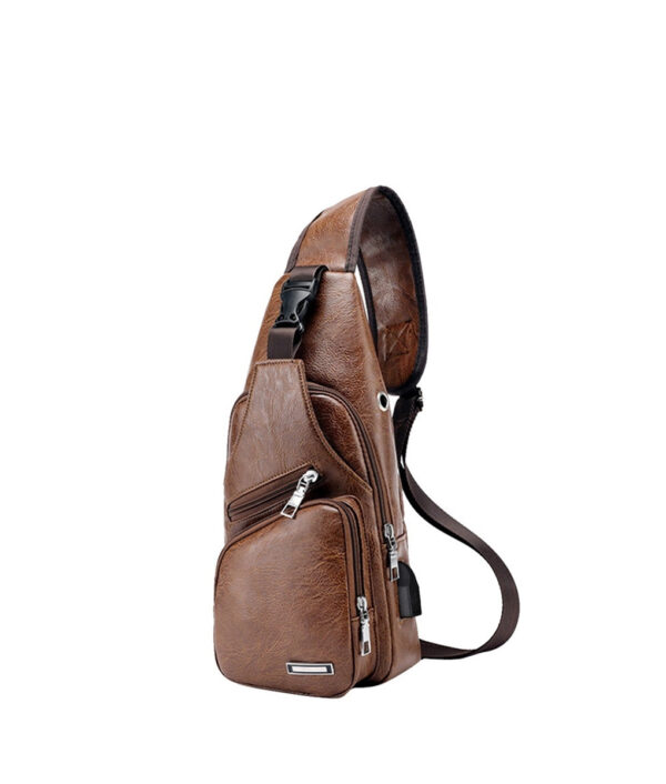 MoneRffi Men s Chest Bag Men Leather Chest Pack USB Backbag With Headphone Hole Functional Travel 6