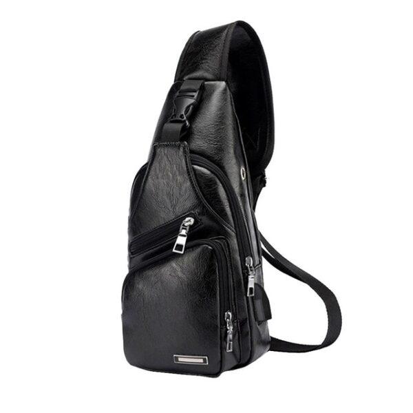MoneRffi Men s Chest Bag Men Leather Chest Pack USB Backbag With Headphone Hole Functional