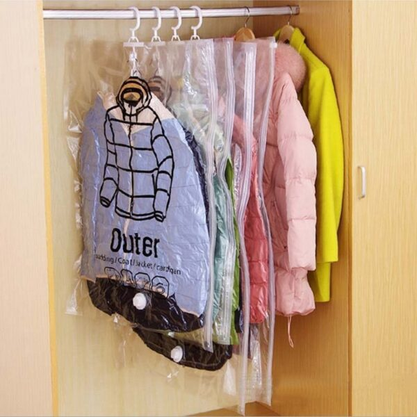 NEW Hanging Transparent Vacuum Storage Bag Closet Space Save Organizer Holders Foldable Bags Pack Clothing of 1