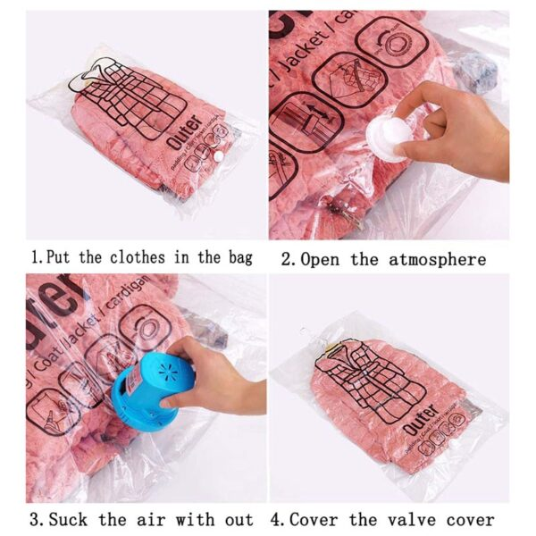 NEW Hanging Transparent Vacuum Storage Bag Closet Space Save Organizer Holders Foldable Bags Pack Clothing of 2