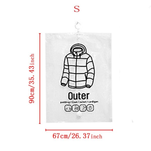 NEW Hanging Transparent Vacuum Storage Bag Closet Space Save Organizer Holders Foldable Bags Pack Clothing
