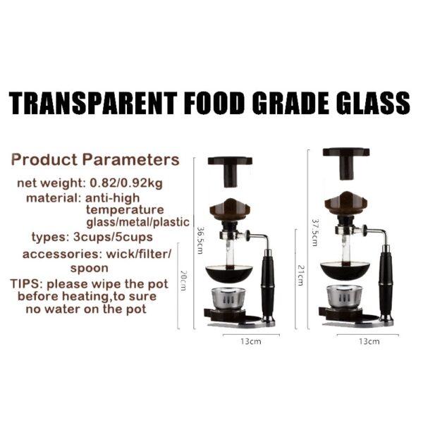 New Home Style Siphon coffee maker Tea Siphon pot vacuum coffeemaker glass type coffee machine filter 5