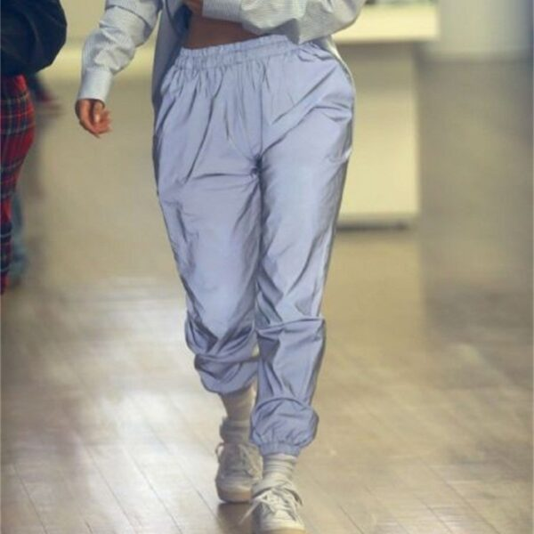 Reflective Pants Nine Pants Harem Casual Pants Hip Hop Elastic Waist Pants 3M Reflective Ladies Fashion 2