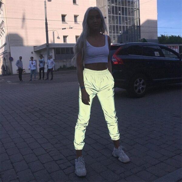 Reflective Pants Nine Pants Harem Casual Pants Hip Hop Elastic Waist Pants 3M Reflective Ladies Fashion 4