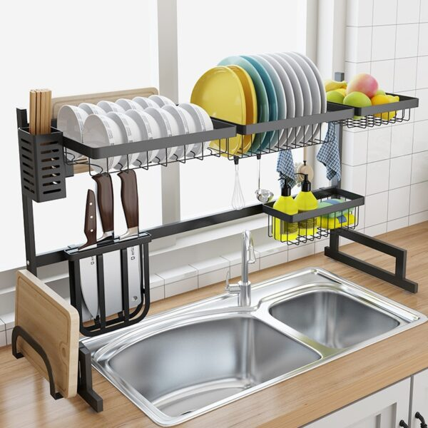 Stainless Steel Sink Drain Rack Kitchen Shelf Two story Floor Sink Sink Rack Dish Rack Kitchen 1