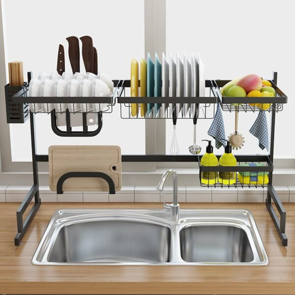Stainless Steel Sink Drain Rack Kitchen Shelf Two story Floor Sink Sink Rack Dish Rack Kitchen 3