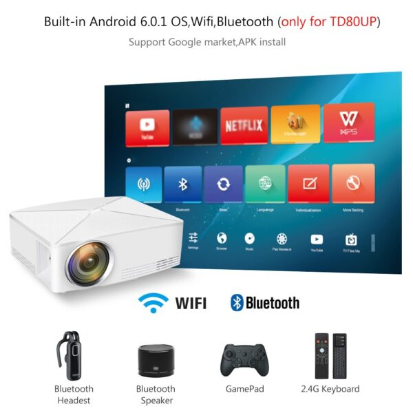ThundeaL GP70 Upgrade TD80 Mini LED Projector 1280x720 Portable HD HDMI Video C80 3D LCD TD80 2