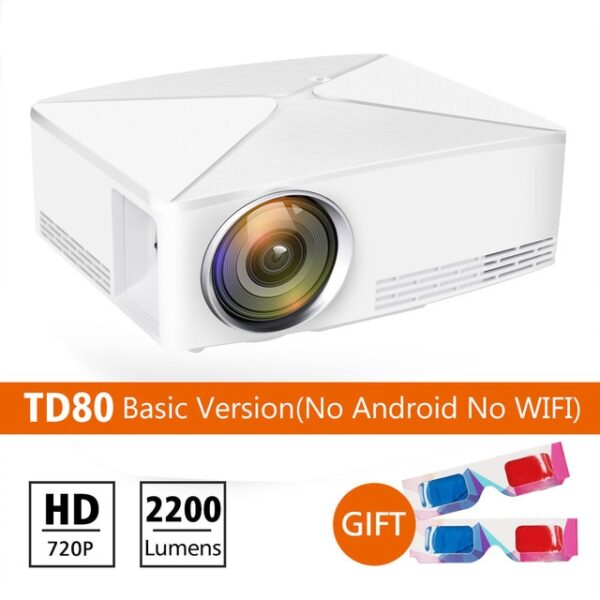 ThundeaL GP70 Upgrade TD80 Mini LED Projector 1280x720 Portable HD HDMI Video C80 3D LCD