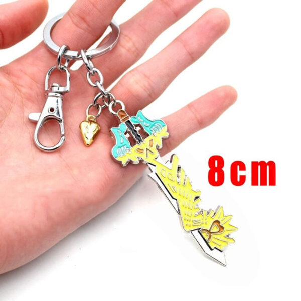 Wellcomics Game Kingdom Hearts Sora Key Keyblade Paopu Fruit Weapon Gold Metal Handmade Pendant Keychain Keyring 4 1.jpg 640x640 4 1