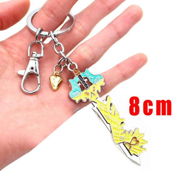 Wellcomics Game Kingdom Hearts Sora Key Keyblade Paopu Fruit Weapon Gold Metal Handmade Pendant Keychain Keyring 5 1