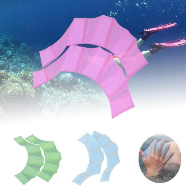 1Pair Hot Sale Unisex Frog Type Silicone Girdles Swimming Hand Fins Flippers Palm Finger Webbed Gloves 1