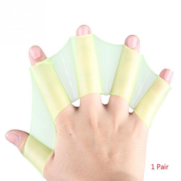 1Pair Hot Sale Unisex Frog Type Silicone Girdles Swimming Hand Fins Flippers Palm Finger Webbed Gloves 4