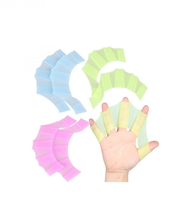1Pair Hot Sale Unisex Frog Type Silicone Girdles Swimming Hand Fins Flippers Palm Finger Webbed Gloves 5 1