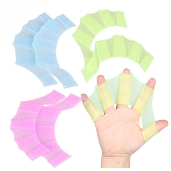 1Pair Hot Sale Unisex Frog Type Silicone Girdles Swimming Hand Fins Flippers Palm Finger Webbed Gloves 5