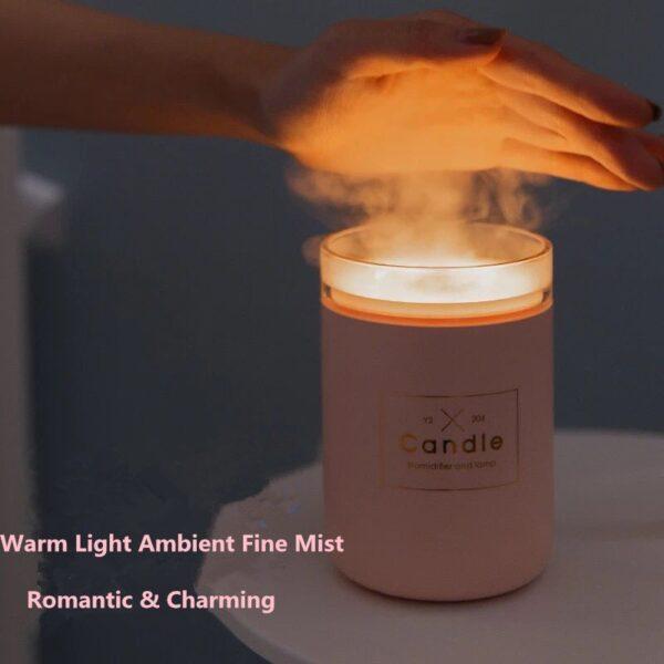 280ML Ultrasonic Air Humidifier Candle Romantic Soft Light USB Essential Oil Diffuser Car Purifier Aroma Anion 2