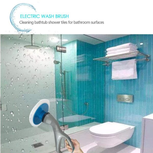 4 Pcs Cordless Hurricane Muscle Scrubber Electrical Cleaning Brush with Brush Heads Bathroom Surface Bathtub Shower