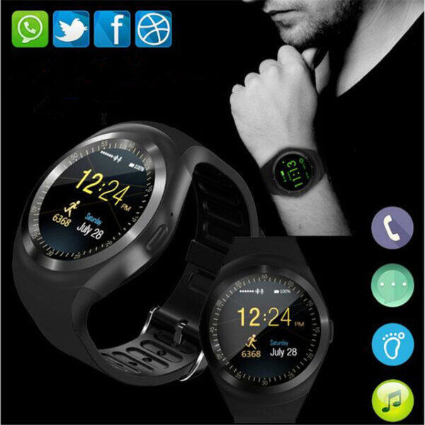 696 Y1 Smart Watchs Round Support Nano SIM TF Card With Whatsapp And Facebook Men Women 2
