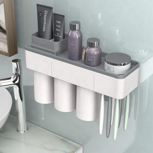 BAISPO Magnetic Adsorption Toothbrush Holder Inverted Cup Wall Mount Bathroom Cleanser Storage Rack Bathroom Accessories Set 3.jpg 640x640 3