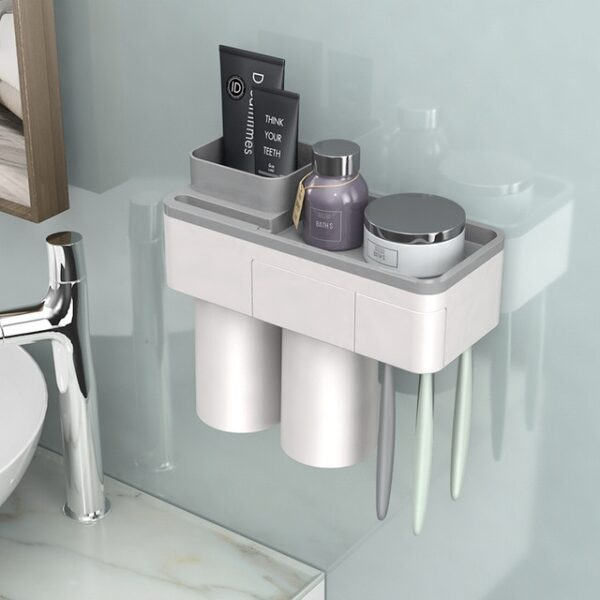 BAISPO Magnetic Adsorption Toothbrush Holder Inverted Cup Wall Mount Bathroom Cleanser Storage Rack Bathroom Accessories
