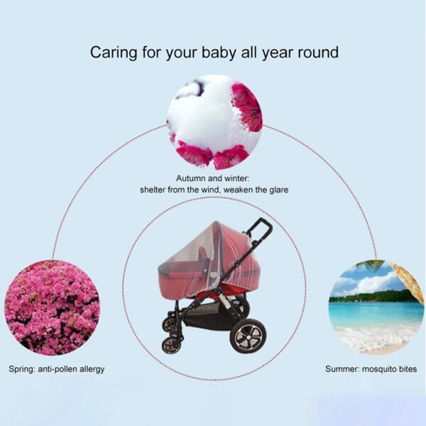 Breathable Mosquito Net For Outdoor Increase Large Encryption Stroller Net Full Cover Type Universal Pushchair Buggy 5