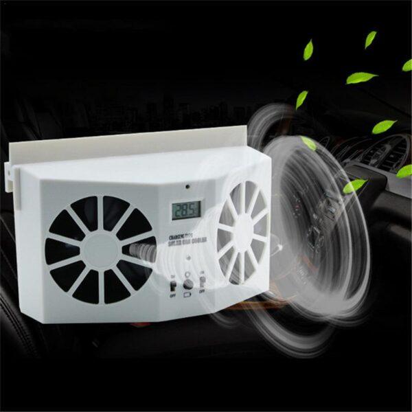 Car Solar Powered Exhaust Fan Car Gills Cooler Auto Ventilation Fan Dual mode Power Supply High 4