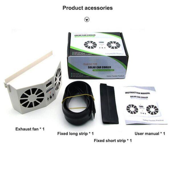 Car Solar Powered Exhaust Fan Car Gills Cooler Auto Ventilation Fan Dual mode Power Supply High 5