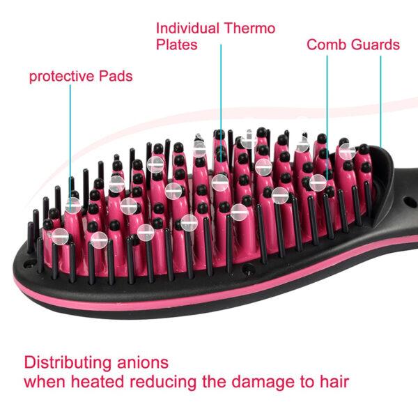 Ceramic Hair Straightener Brush Fast Straightening hair Electric Comb Flat Iron LCD Display Digital Heating hair 4 1