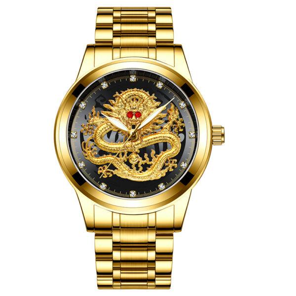 Fashion Men Watch Golden Mens Watches Top Brand Luxury Waterproof Full Steel Quartz Dragon Clock Male 1