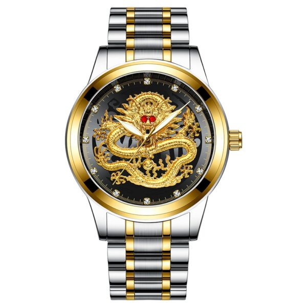 Fashion Men Watch Golden Mens Watches Top Brand Luxury Waterproof Full Steel Quartz Dragon Clock Male 2