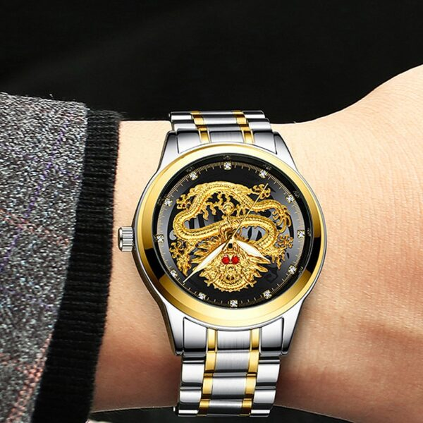 Fashion Men Watch Golden Mens Watches Top Brand Luxury Waterproof Full Steel Quartz Dragon Clock Male 4
