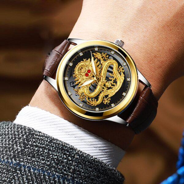 Fashion Men Watch Golden Mens Watches Top Brand Luxury Waterproof Full Steel Quartz Dragon Clock Male 5