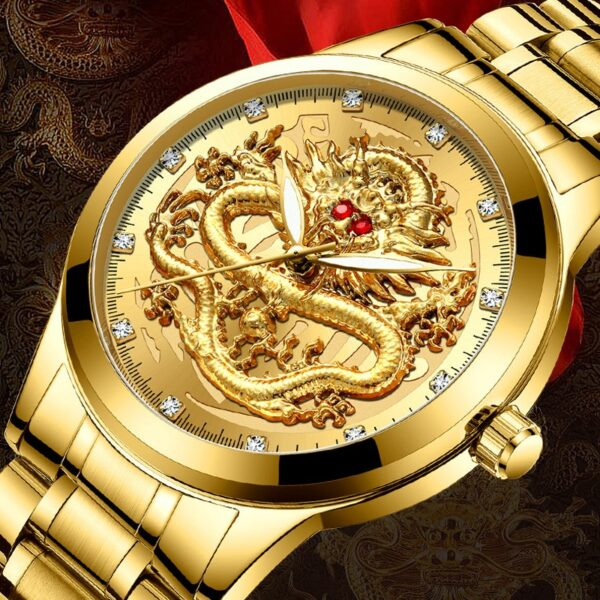 Fashion Men Watch Golden Mens Watches Top Brand Luxury Waterproof Full Steel Quartz Dragon Clock Male