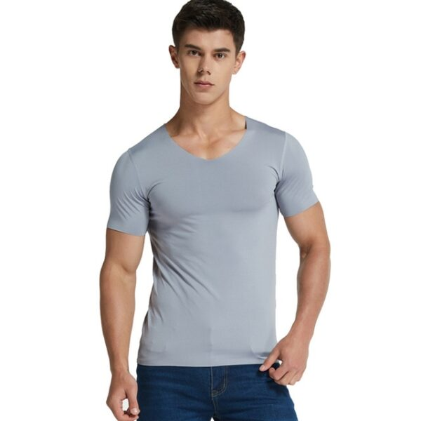 Men Ice Silk Quick Dry T shirt Short Sleeve V Neck Solid Color Seamless Breathable Top 1.jpg 640x640 1