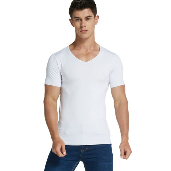 Men Ice Silk Quick Dry T shirt Short Sleeve V Neck Solid Color Seamless Breathable Top 2
