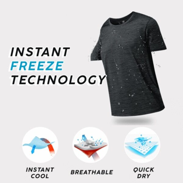 Men Ice Silk Quick Dry T shirt Short Sleeve V Neck Solid Color Seamless Breathable Top 3