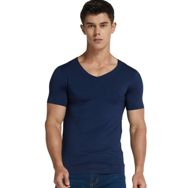 Men Ice Silk Quick Dry T shirt Short Sleeve V Neck Solid Color Seamless Breathable Top 4