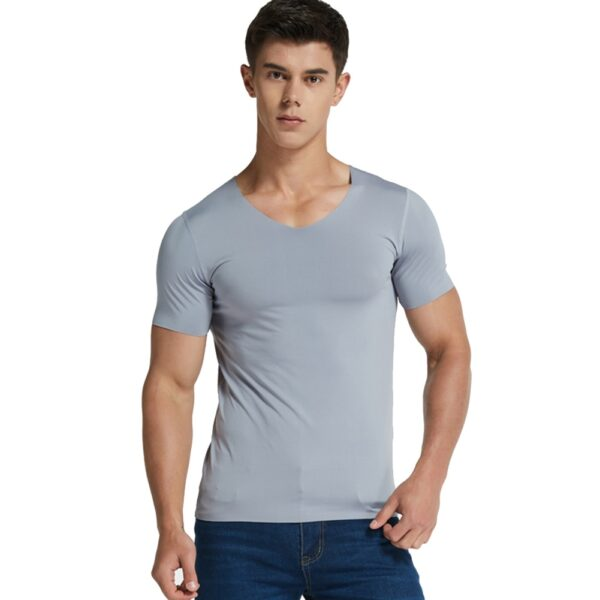 Men Ice Silk Quick Dry T shirt Short Sleeve V Neck Solid Color Seamless Breathable Top