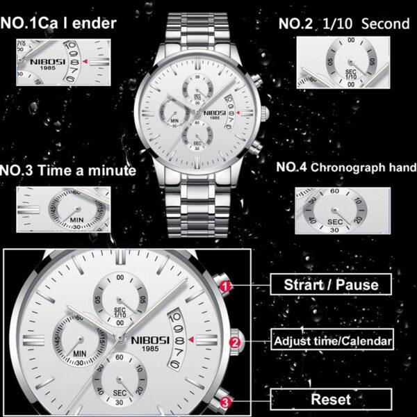 NIBOSI Men Watch Chronograph Sport Mens Watches Top Brand Luxury Waterproof Full Steel Quartz Gold Clock 1