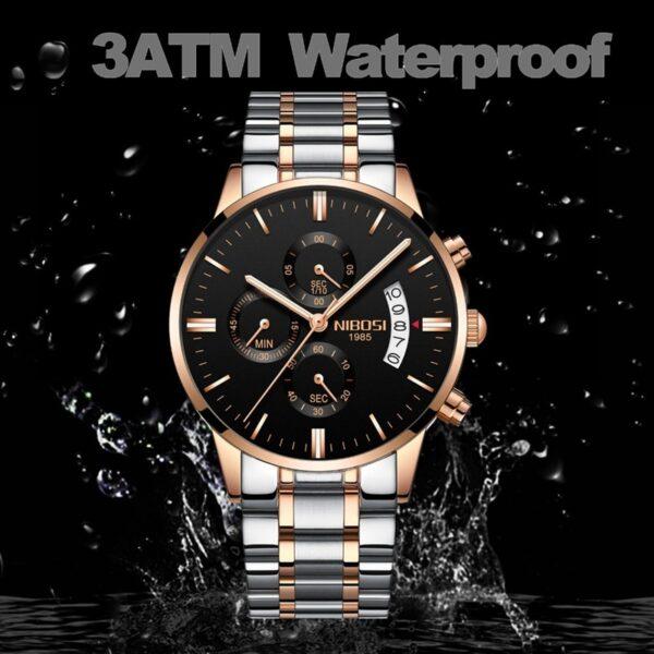 NIBOSI Men Watch Chronograph Sport Mens Watches Top Brand Luxury Waterproof Full Steel Quartz Gold Clock 2