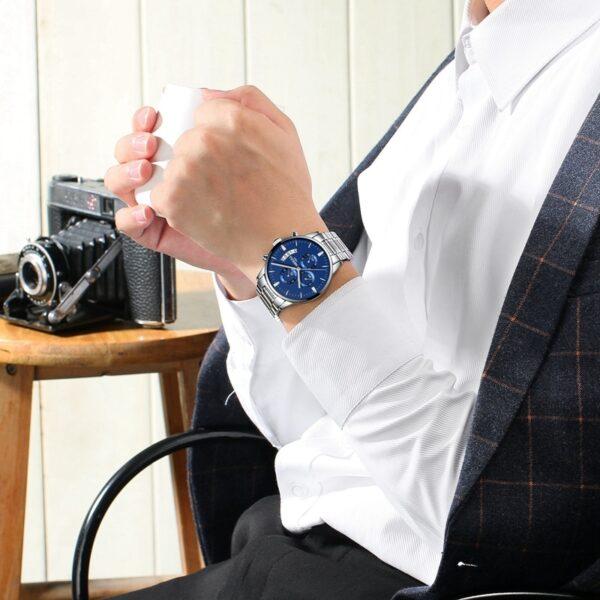 NIBOSI Men Watch Chronograph Sport Mens Watches Top Brand Luxury Waterproof Full Steel Quartz Gold Clock 4