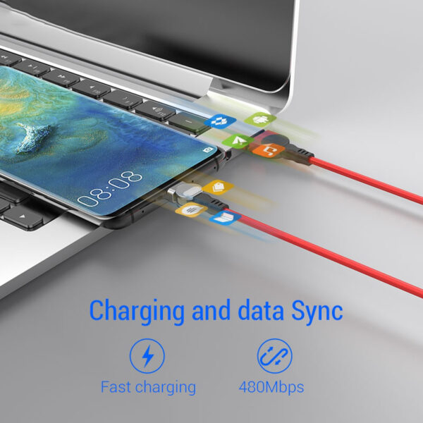 PZOZ Rotate 90 degree Magnetic USB Cable 5A Fast Charging USB C Charger Micro USB Type 3 1